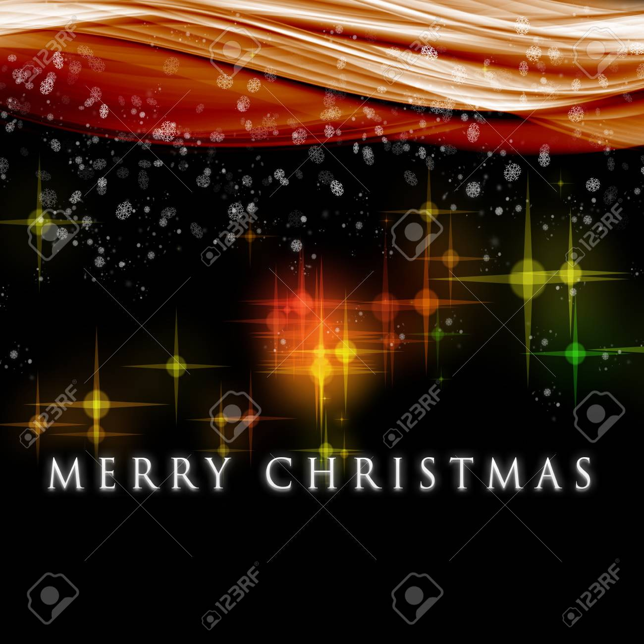 Fantastic Christmas wave design with snowflakes and glowing stars Stock Photo - 14772265