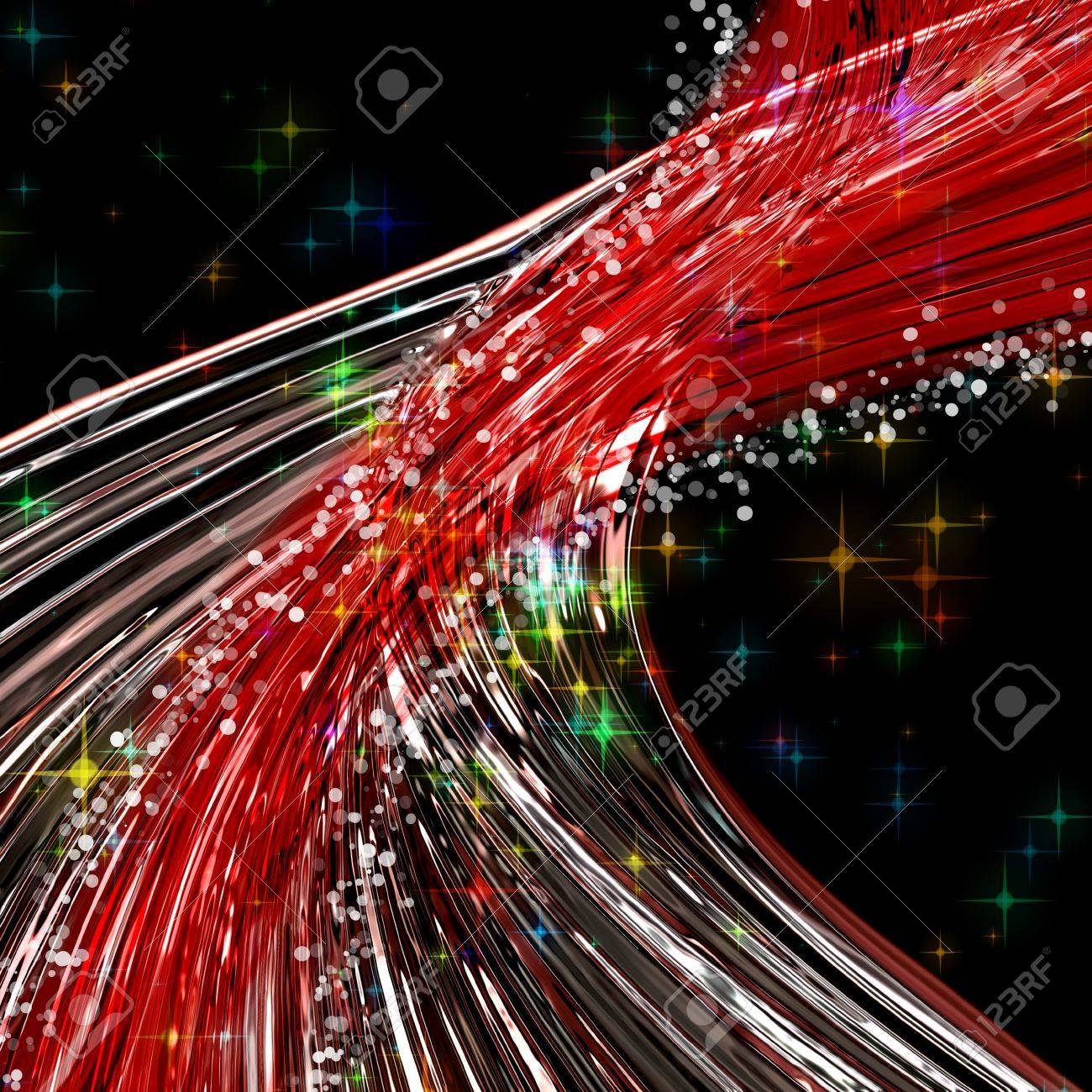 Fantastic Christmas wave design with snowflakes and glowing stars Stock Photo - 16059950