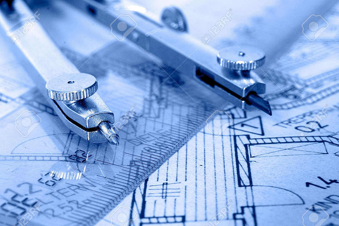 compass and ruler of colored floorplan Stock Photo - 372600
