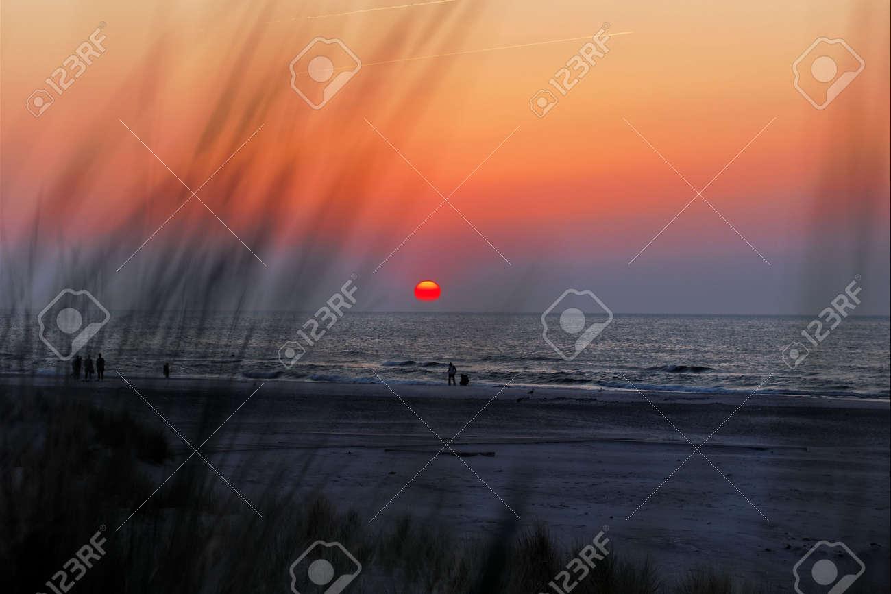 Sunset on beach, baltic sea Stock Photo - 4713224