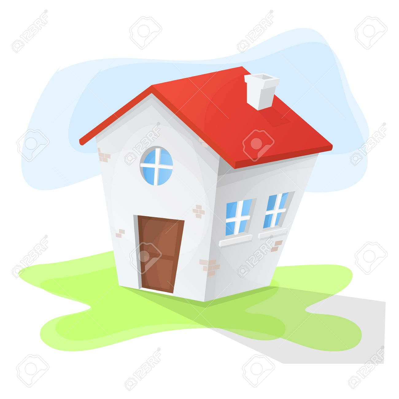 Small House Cartoon With Three Windows And Red Roof Green Land Blue Background