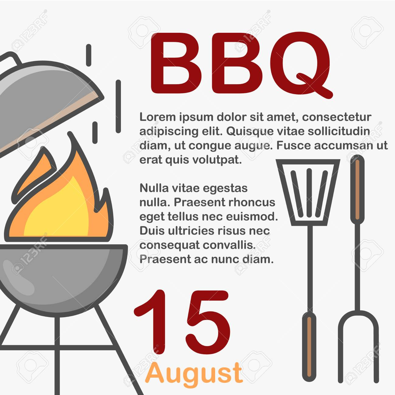 bbq invitation utensils on white background and sample text