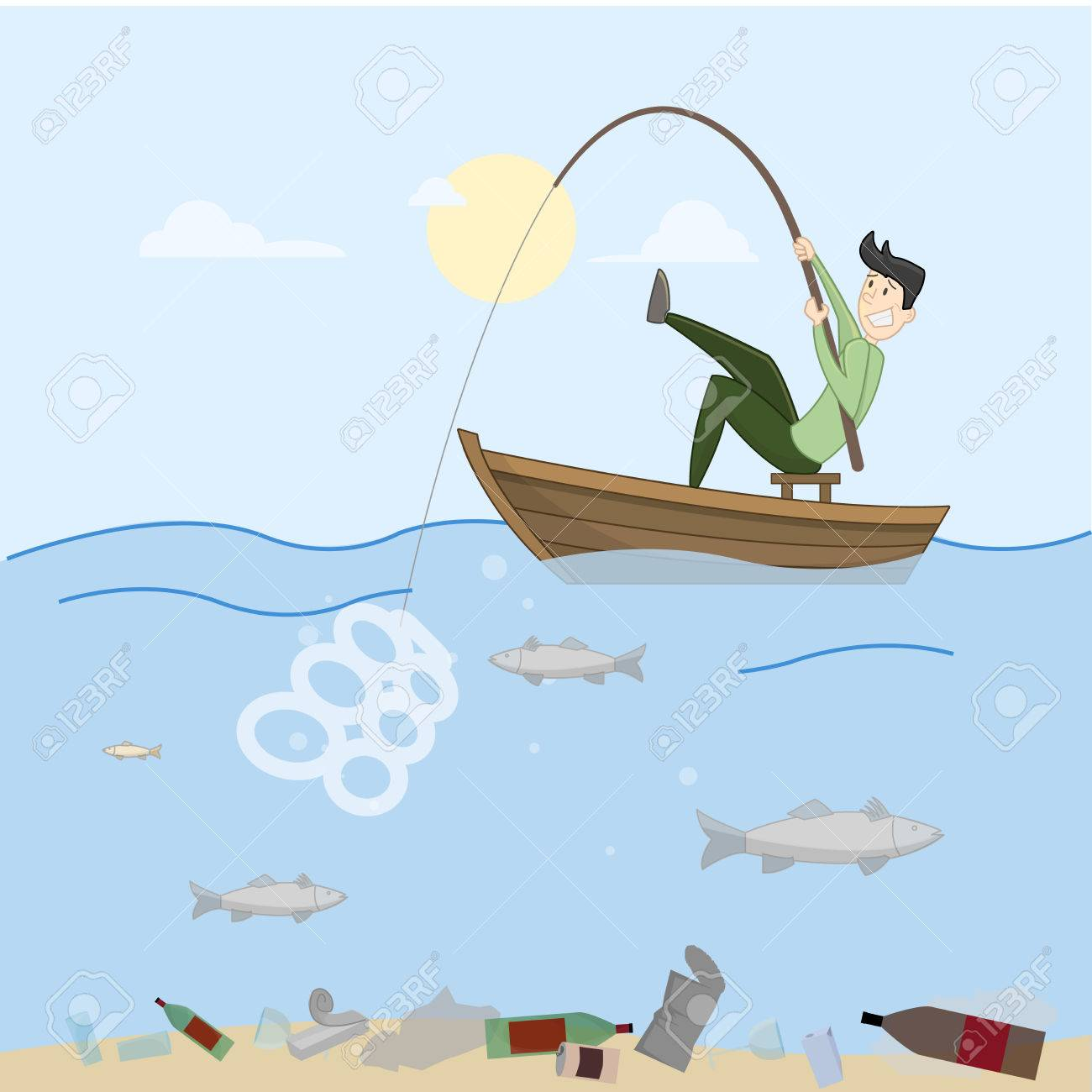 Man trying to fish. Sea completely full of crap. Contamination. Vector - 52324288