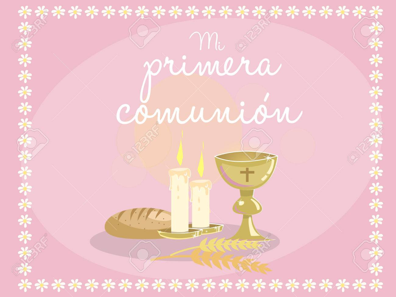 My first communion card invitation religious elements on blue my first communion card invitation religious elements on blue background frame made with kristyandbryce Choice Image