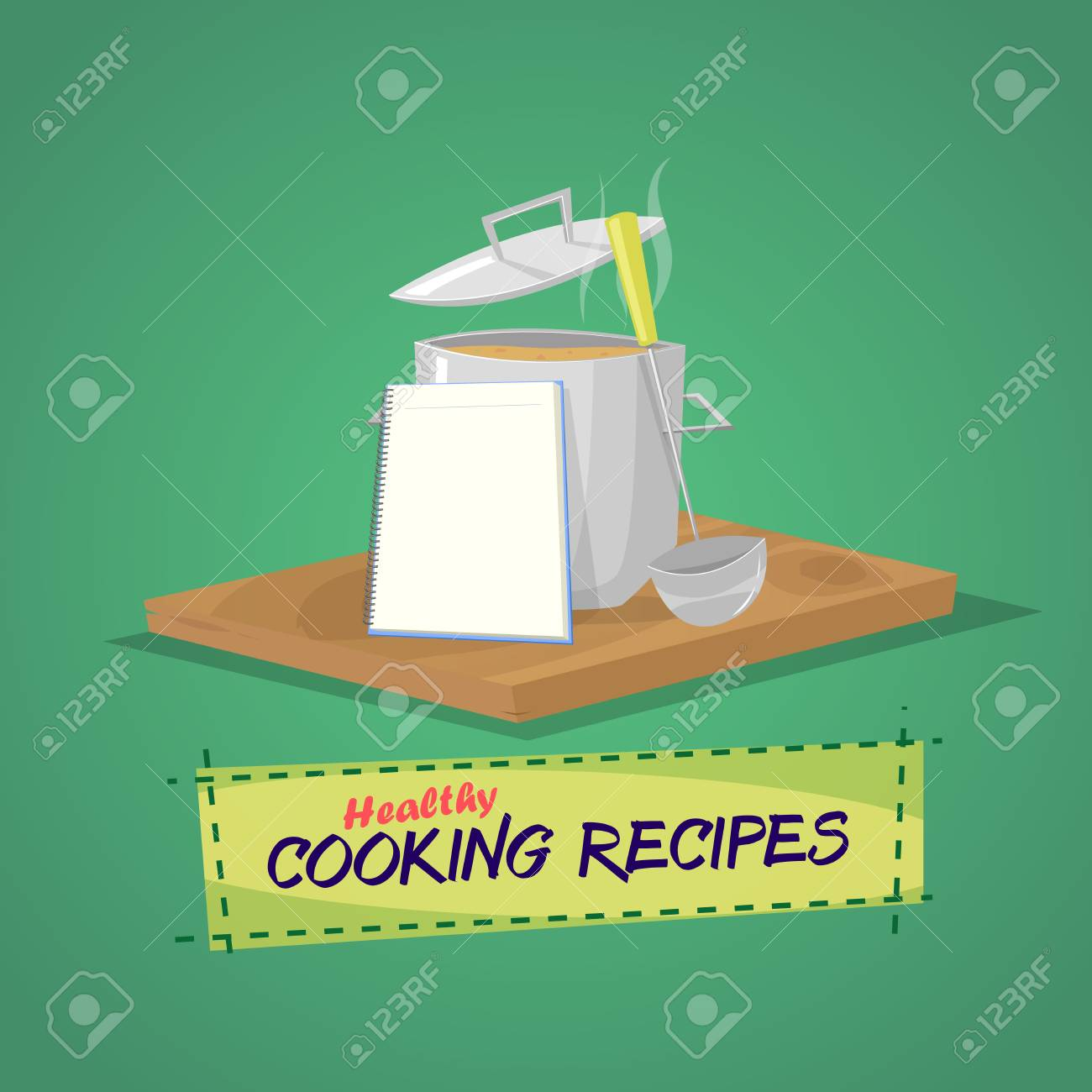 Healthy cooking recipes. Cooking pot and utensils book with recipes.Vector