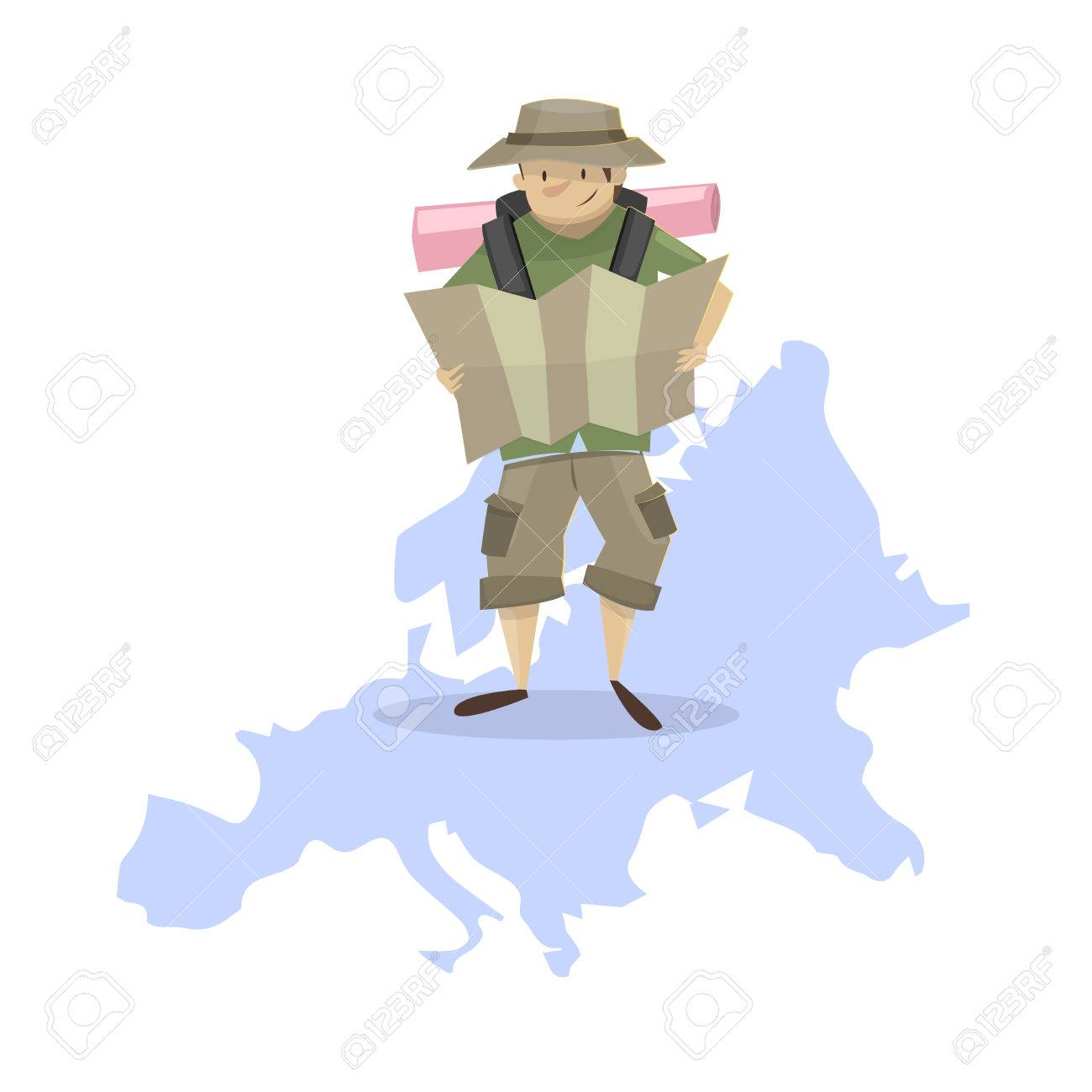 Traveling Backpacking Through Europe Man With Backpack On The