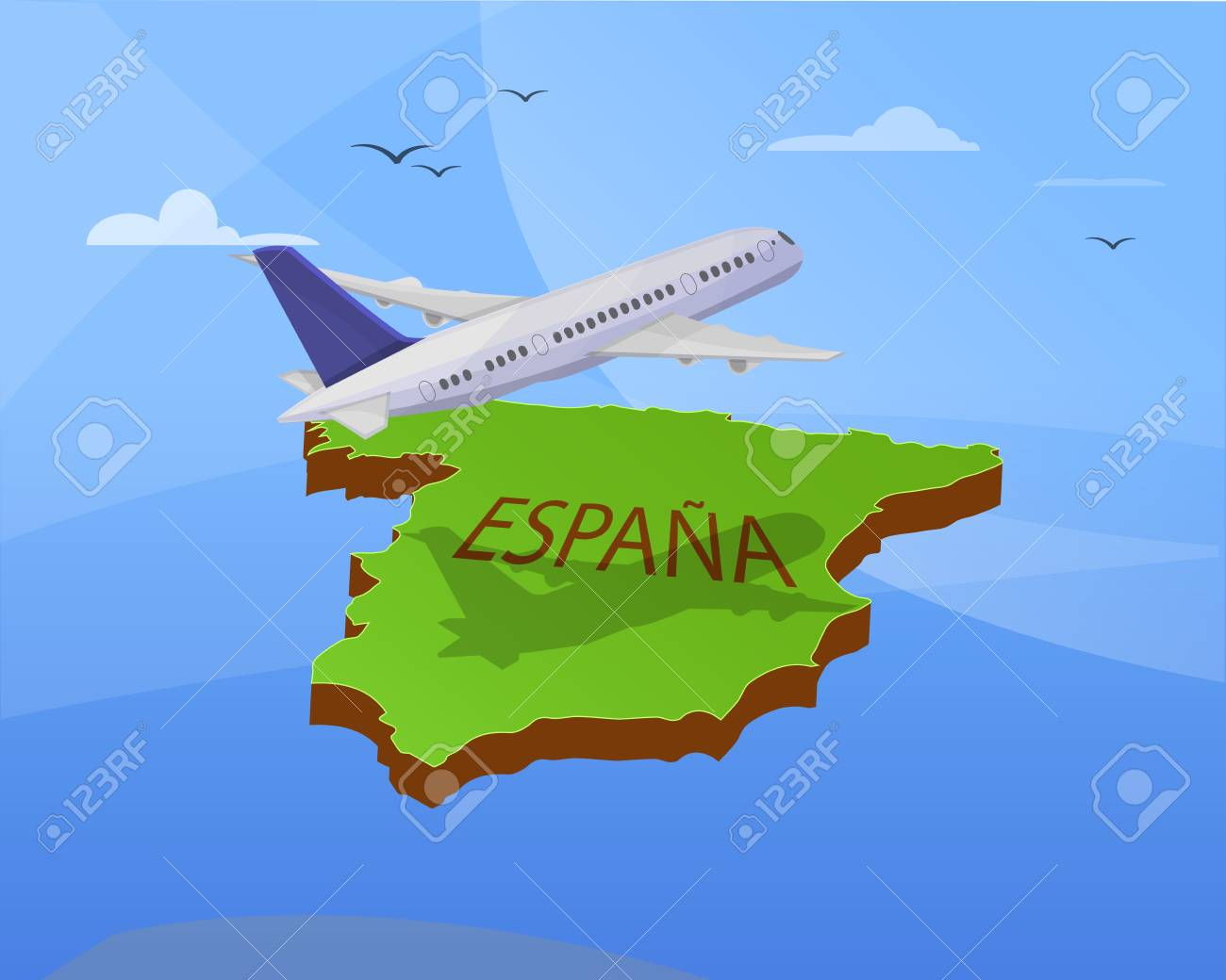 Travel Map Of Spain.Air Travel To Spain Airplane Flying The Map Of Spain 3d Effect