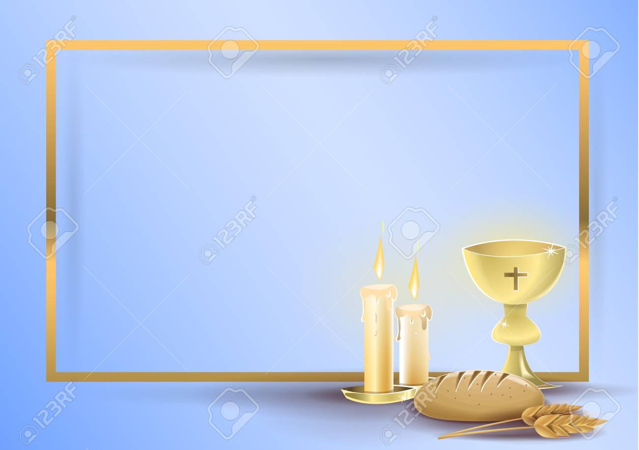 First communion religious invitation card: Religious elements..