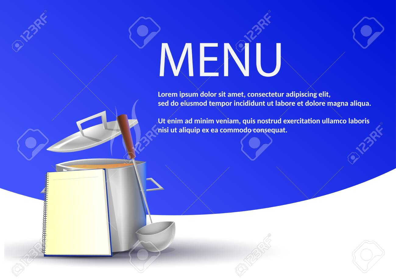 simple restaurant menu pot with typical food on blue background