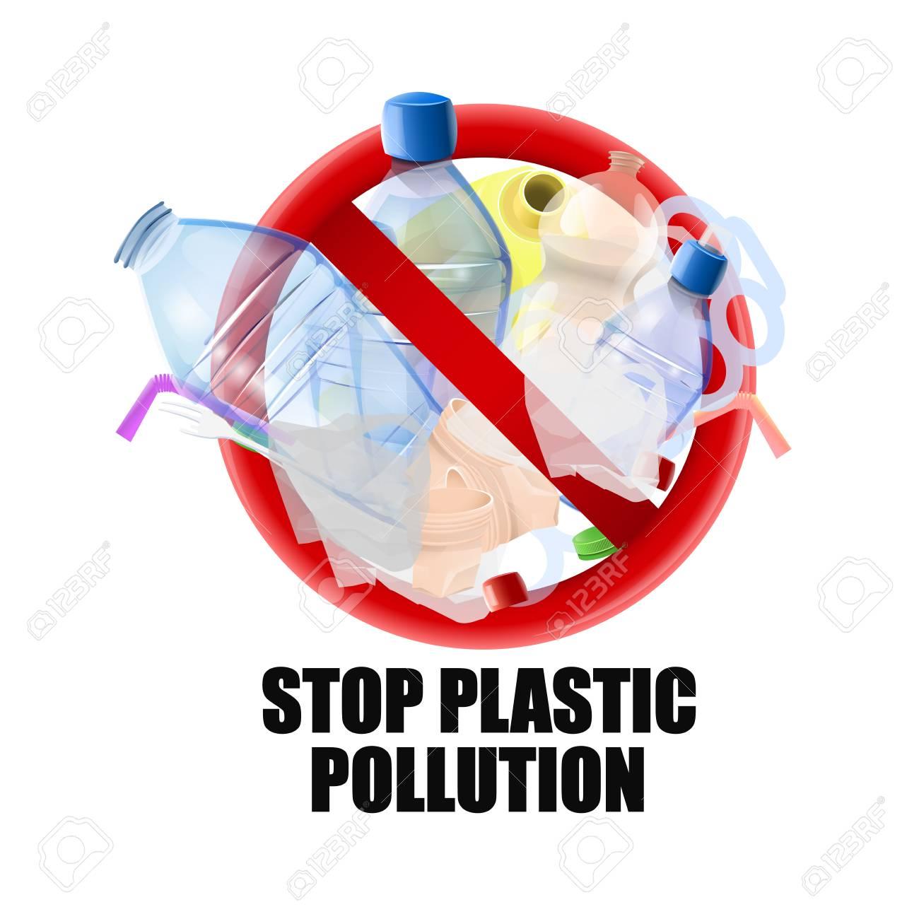 No plastic signal: protest against plastic garbage. Vector image - 104415413