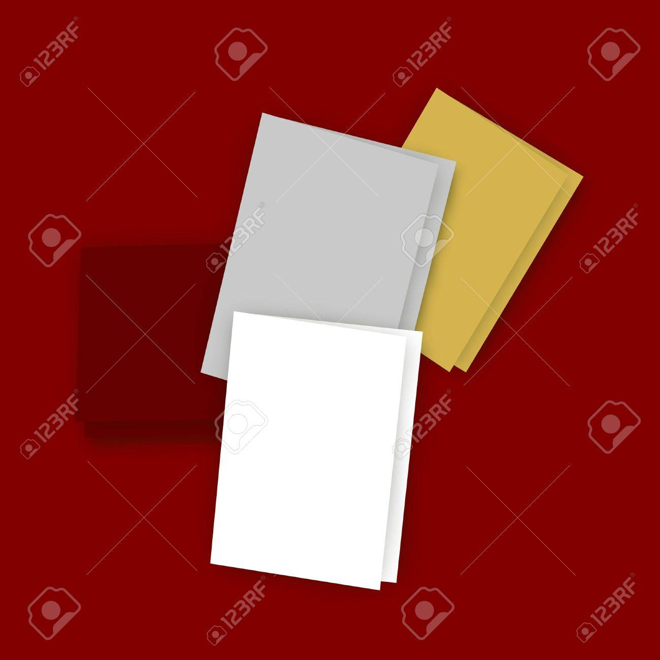 Illustration Of Five Greeting Cards With Blank Covers And White