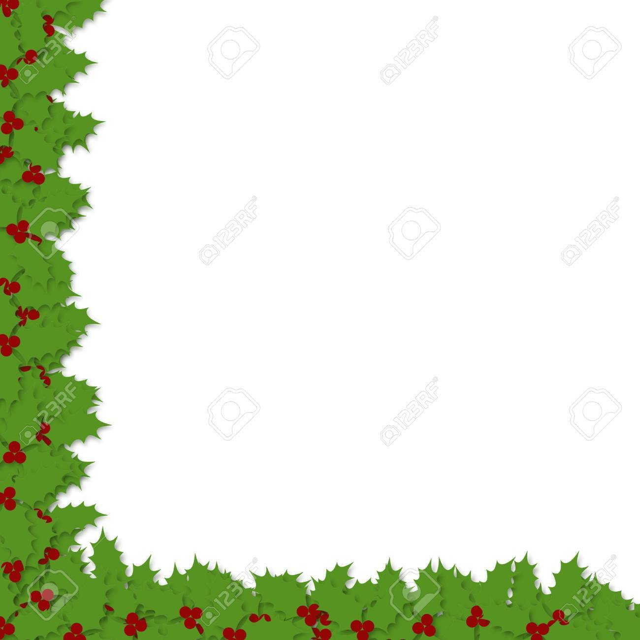 illustration of a decoupage style holly border sweeping down