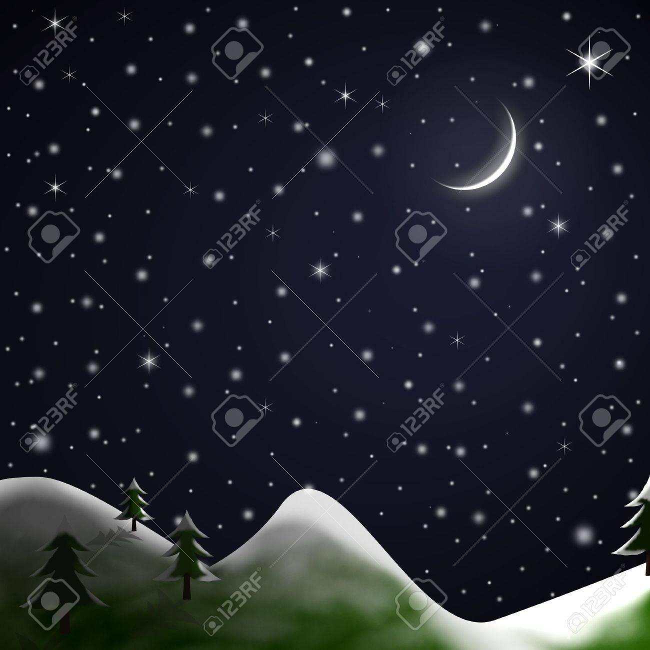 Illustration of a star-lit Winter night with snow topped grassy hills, fir trees, crescent moon and falling snow. Stock Photo - 5899866