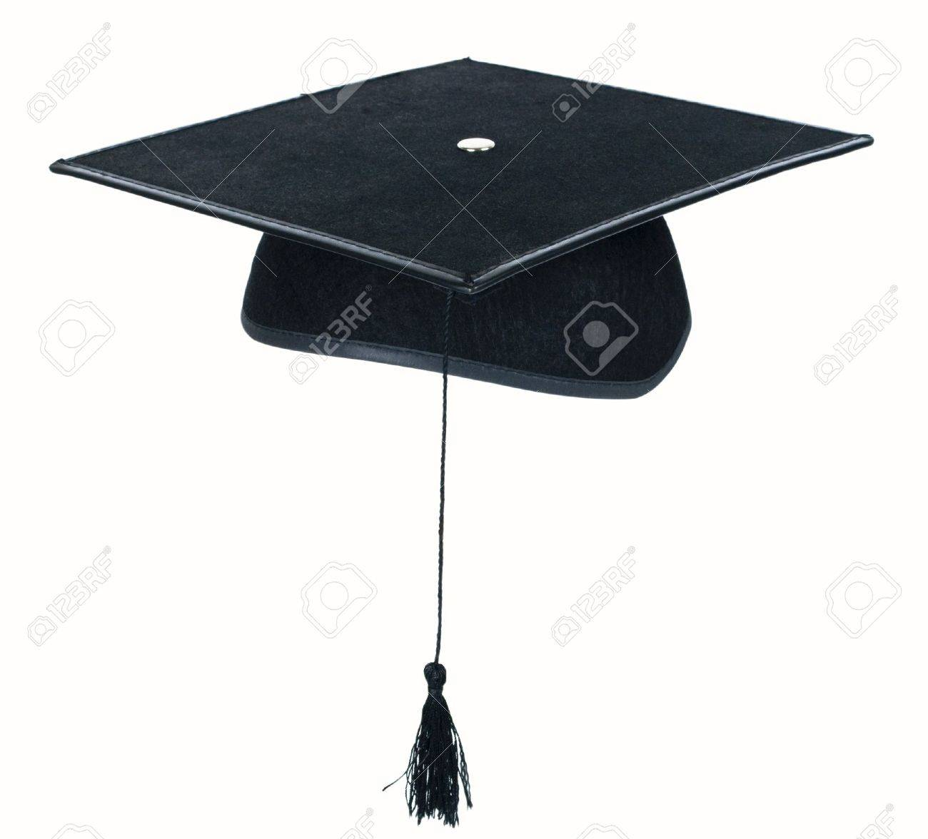 A black mortarboard with hanging tassle, isolated on white background. Stock Photo - 6960968