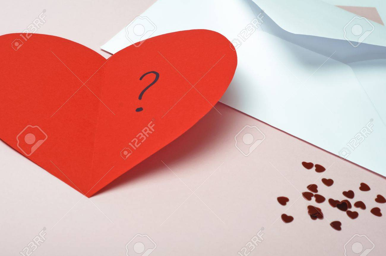 A Red Heartshaped Valentines Card Opened To Reveal A Question – Heart Shaped Valentine Cards