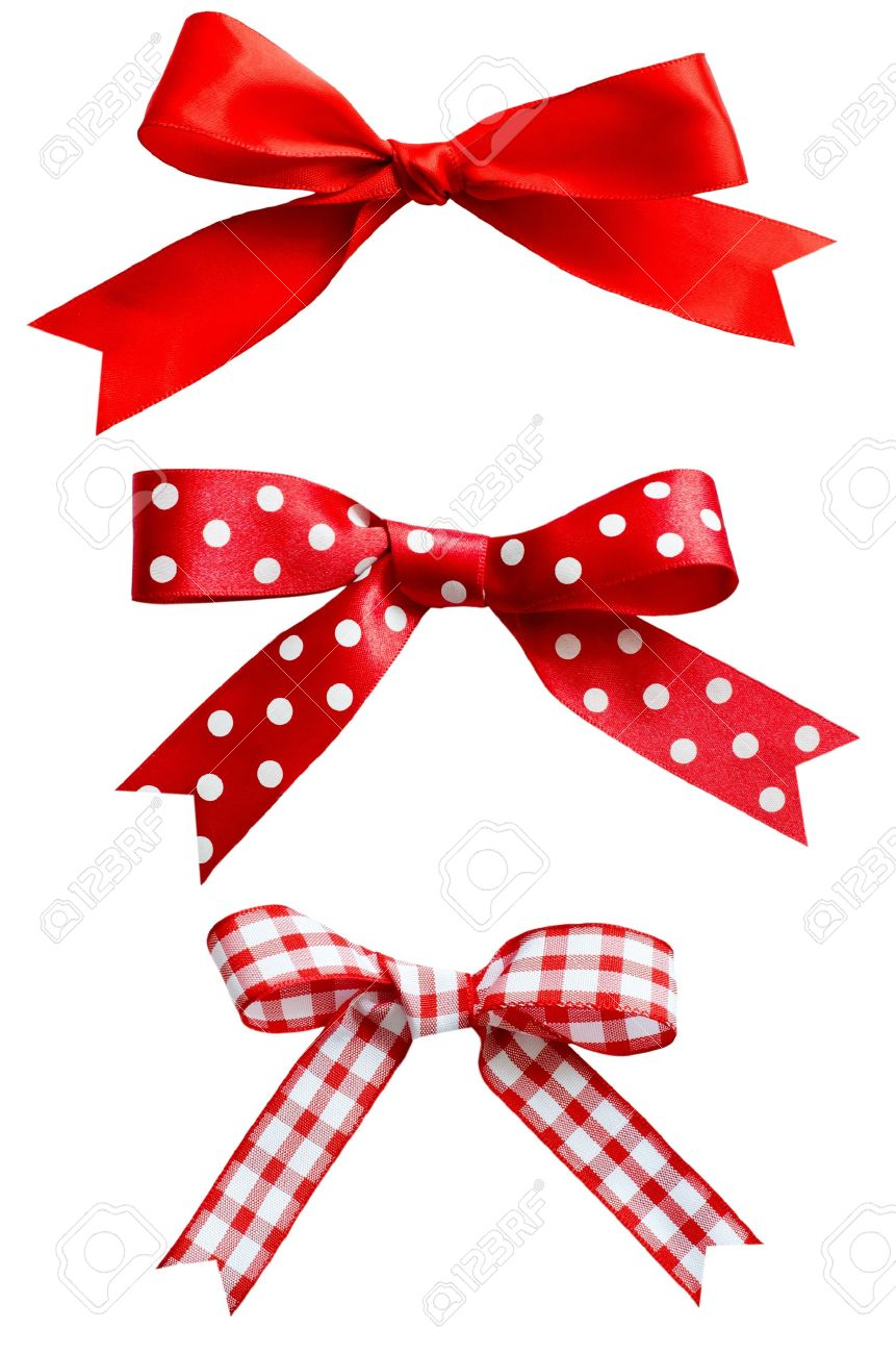 Three types of isolated red ribbon bows on white background.  One plain, two patterned with polka dots and checks. Stock Photo - 15841518