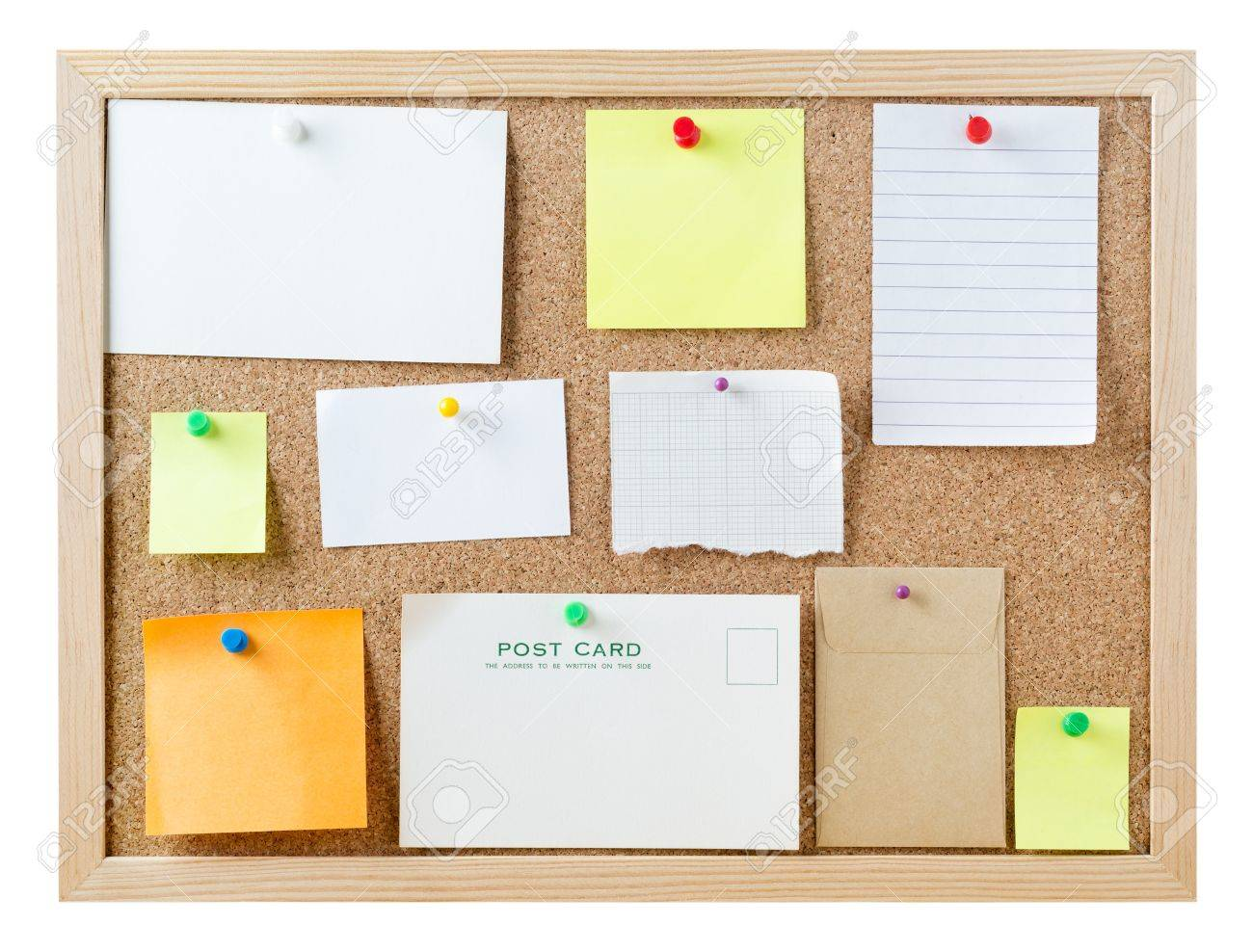 Hedendaags Een Kurk Prikbord, Geïsoleerd Op Wit, Met Een Verscheidenheid Van DS-46