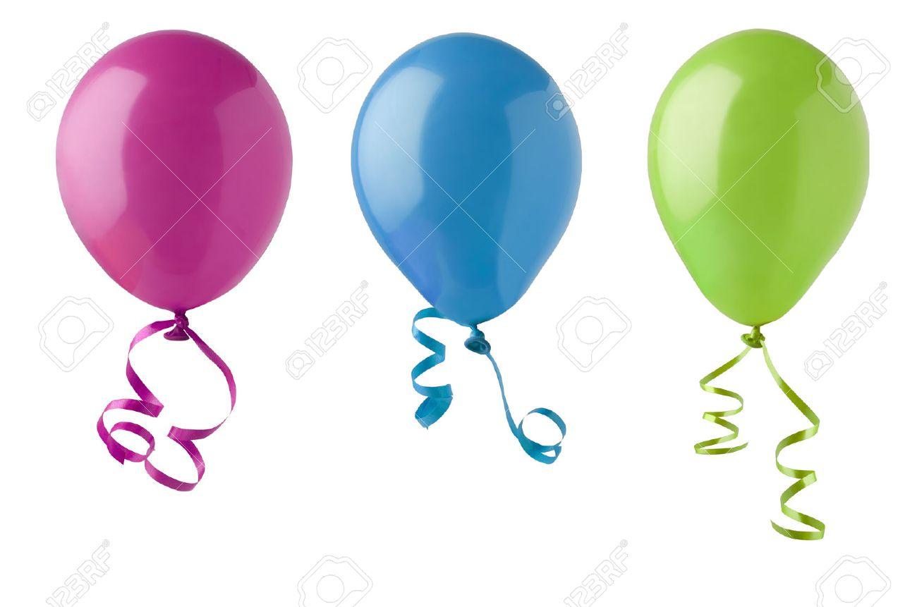 Green and blue balloons - Stock Photo Three Party Balloons In Bright Colours Of Pink Blue And Green Tied With Twirling Ribbon Streamers And Isolated On A White A Background