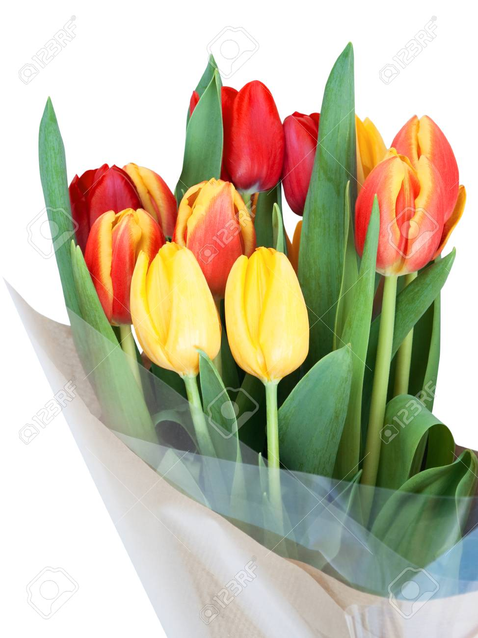 Bouquet Of Red And Yellow Tulips With Green Leaves Wrapped In