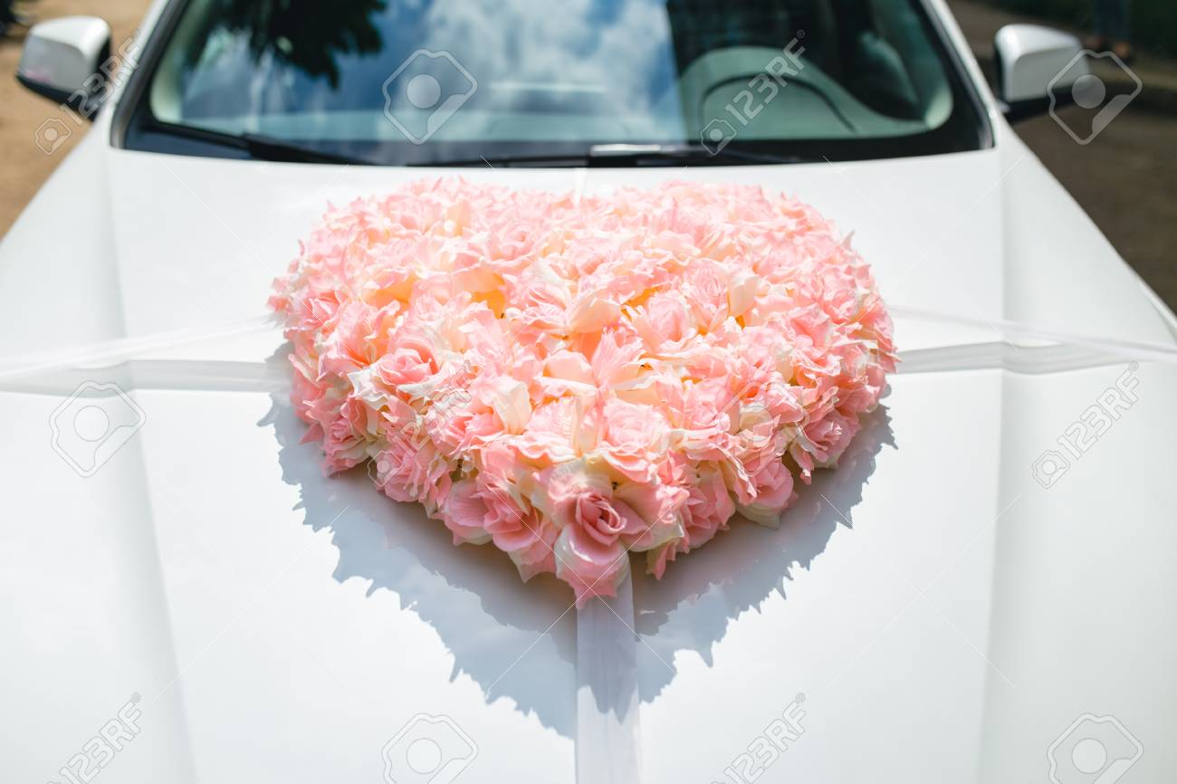 Wedding Car Decorated With Heart Of Flowers Stock Photo, Picture And ...
