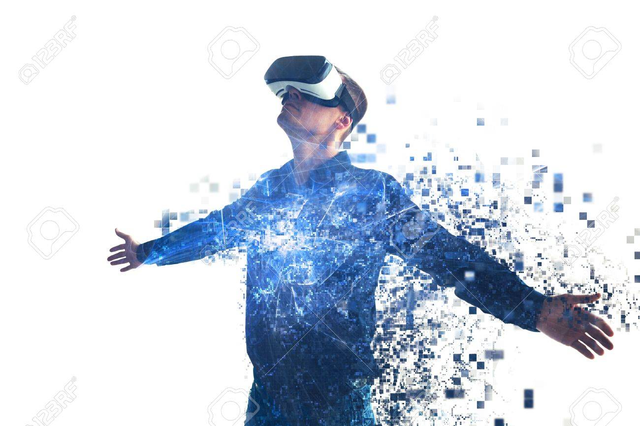 A person in virtual glasses flies to pixels. The man with glasses of virtual reality. Future technology concept. Modern imaging technology. - 83528746