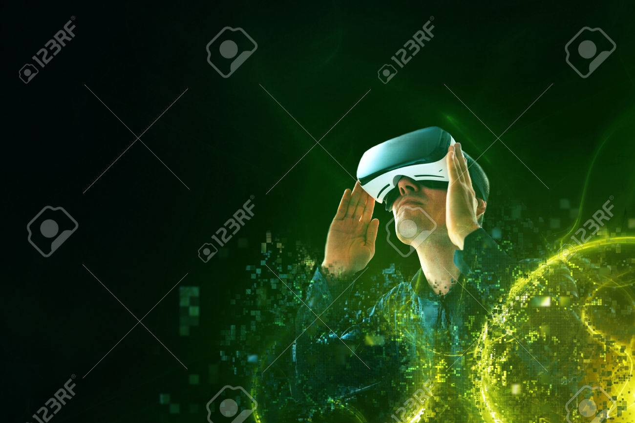 A person in virtual glasses flies to pixels. The man with glasses of virtual reality. Future technology concept. Modern imaging technology. - 83528747
