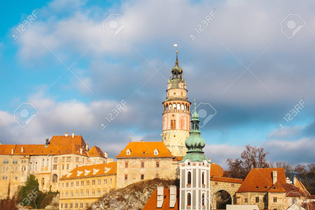 Una Vista Favolosa Della Città Di Cesky Krumlov Nella Repubblica Ceca Luogo Preferito Di Turisti Da Tutto Il Mondo Una Delle Piccole Città Insolite