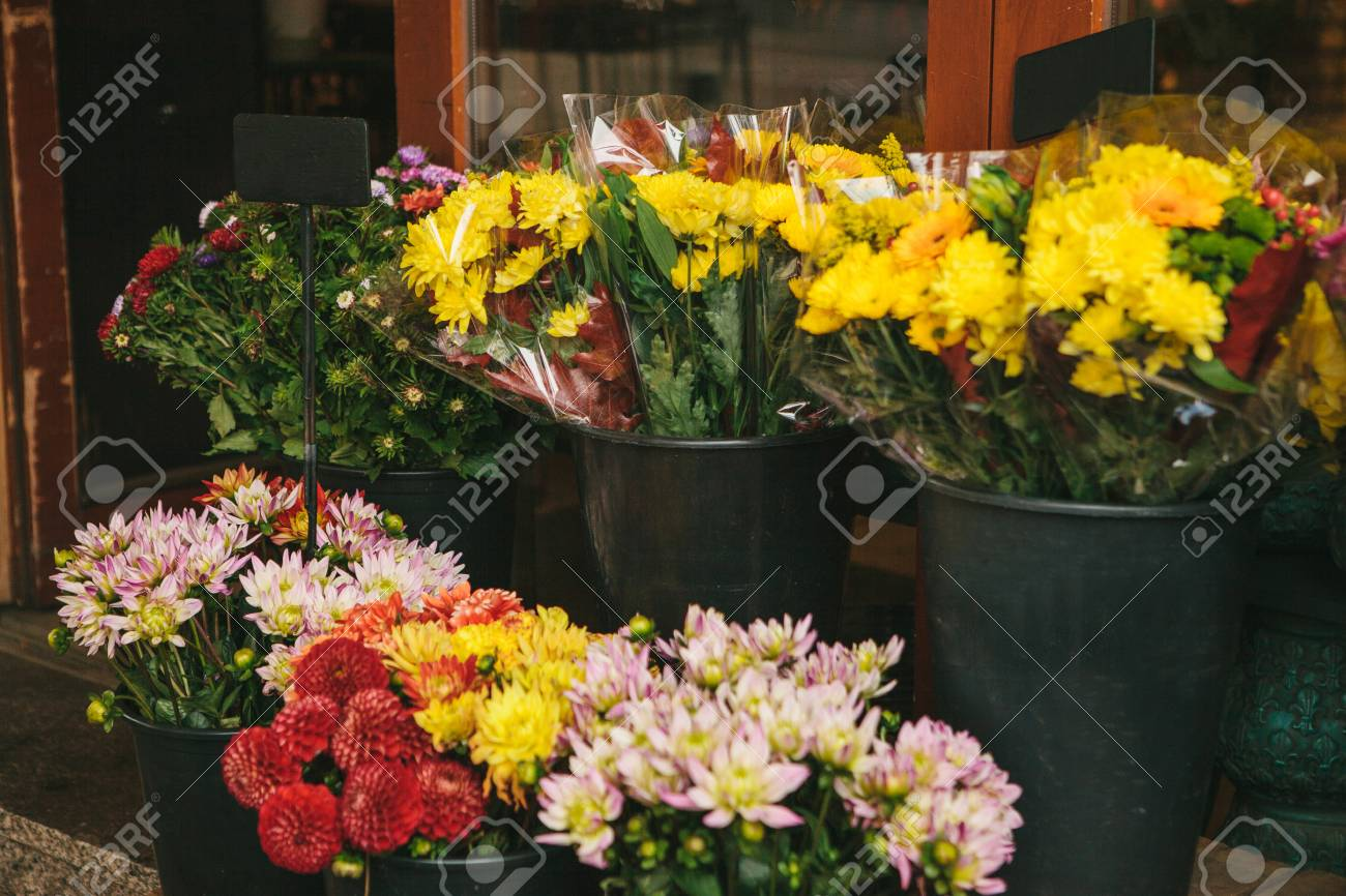 Street Shop Of Flowers Bouquets Of Peonies And Chrysanthemums
