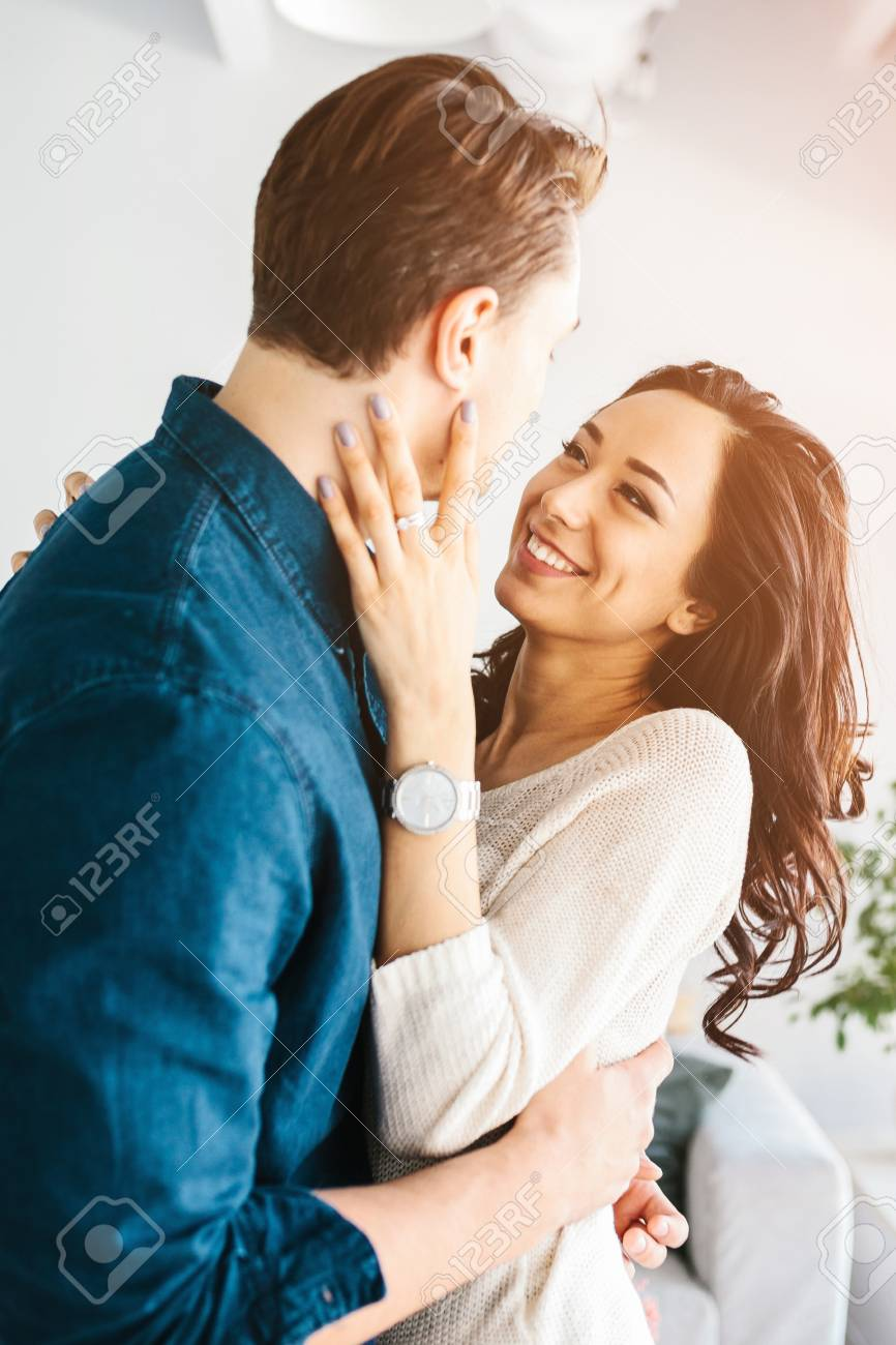 Young Beautiful Couple Hugging And Talking. Deep Feelings, Love,.. Stock Photo, Picture And Royalty Free Image. Image 94376266.