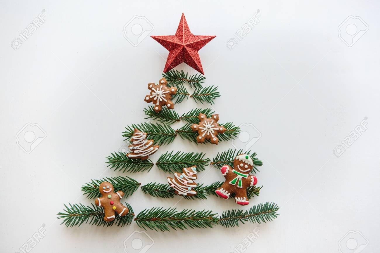 Creative Idea For Christmas Or New Year Theme. A Christmas Tree ...