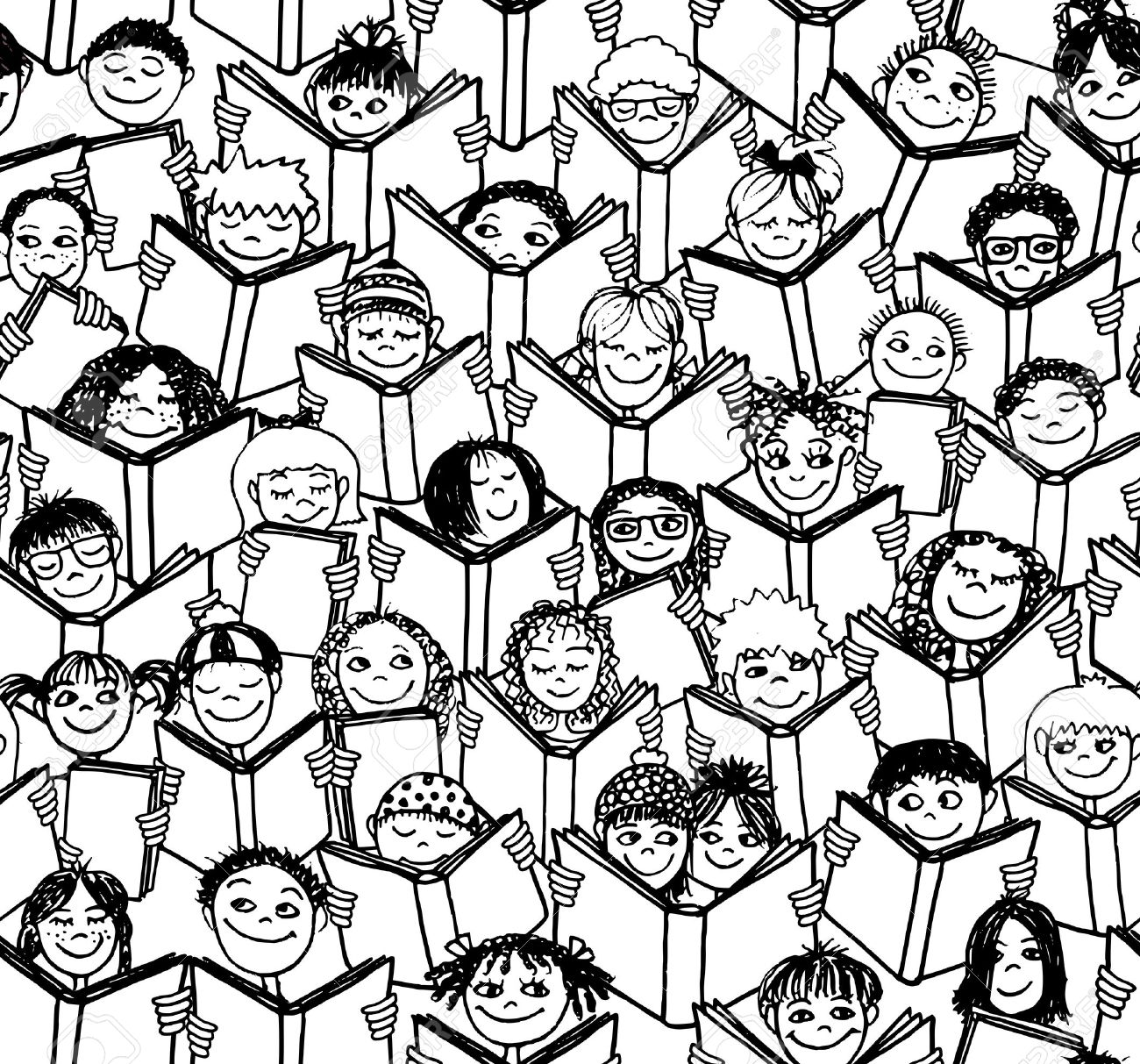 hand drawn seamless pattern of kids reading books - black and