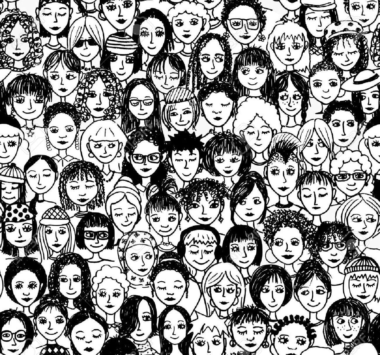 Women - hand drawn seamless pattern of a crowd of different women from diverse ethnic backgrounds - 48042869