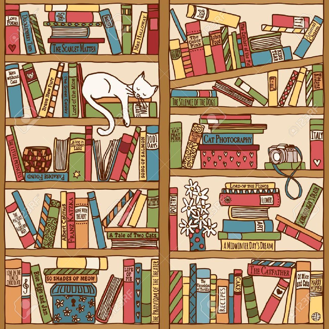 Bücherregal gezeichnet  Hand Gezeichnet Bücherregal Mit Schlafende Katze Lizenzfrei ...