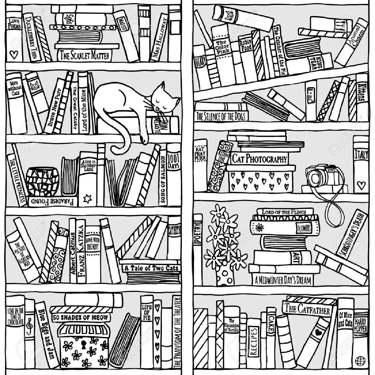 Bücherregal gezeichnet  Hand Gezeichnet Bücherregal Mit Schlafenden Katze - Schwarz Und ...