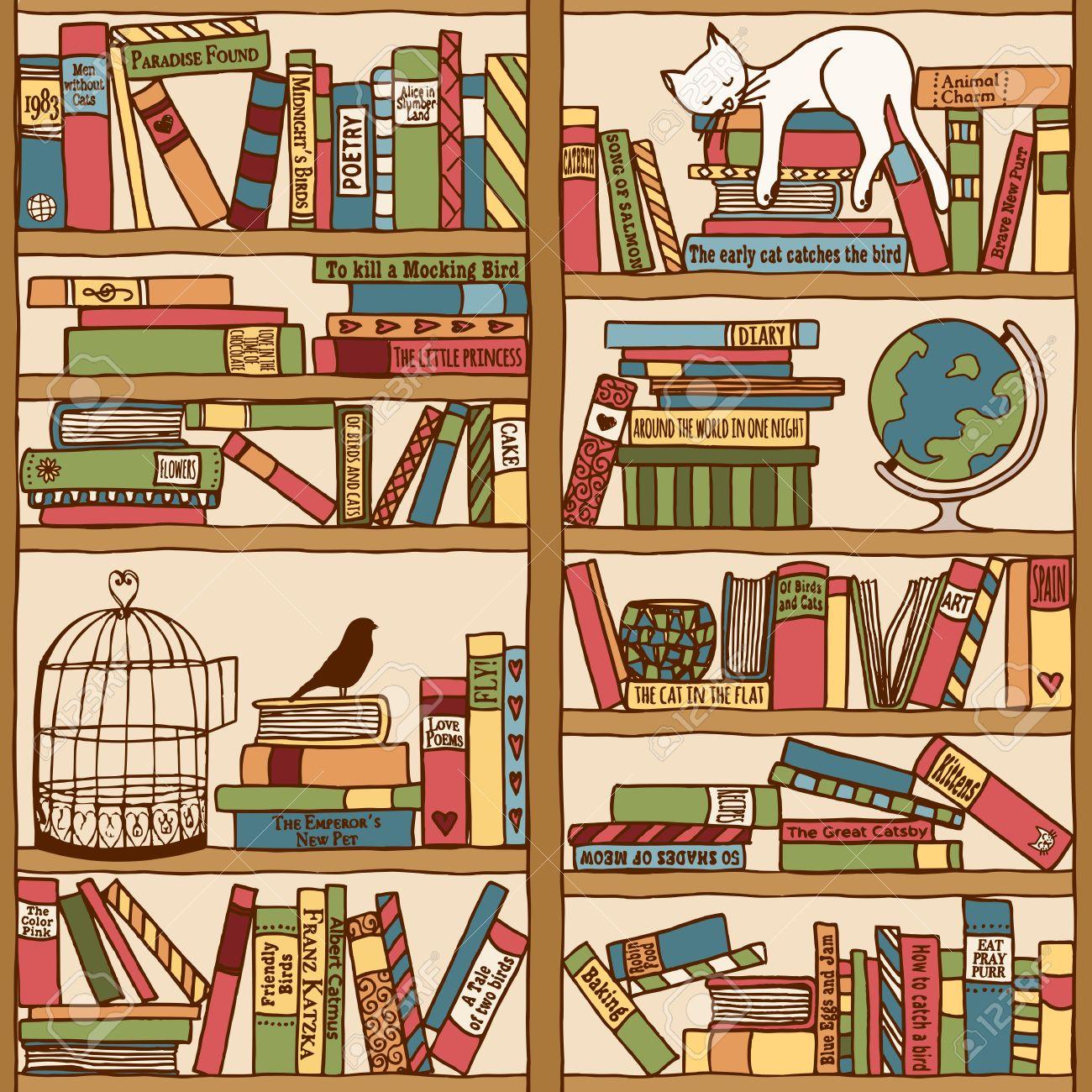 Hand Drawn Bookshelf With Sleeping Cat Stock Vector