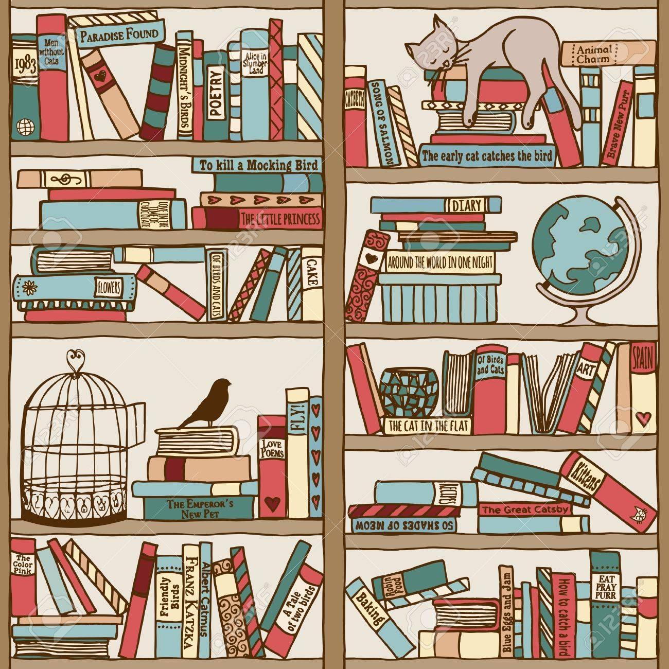 Bücherregal gezeichnet  Hand Drawn Bookshelf With Sleeping Cat Royalty Free Cliparts ...