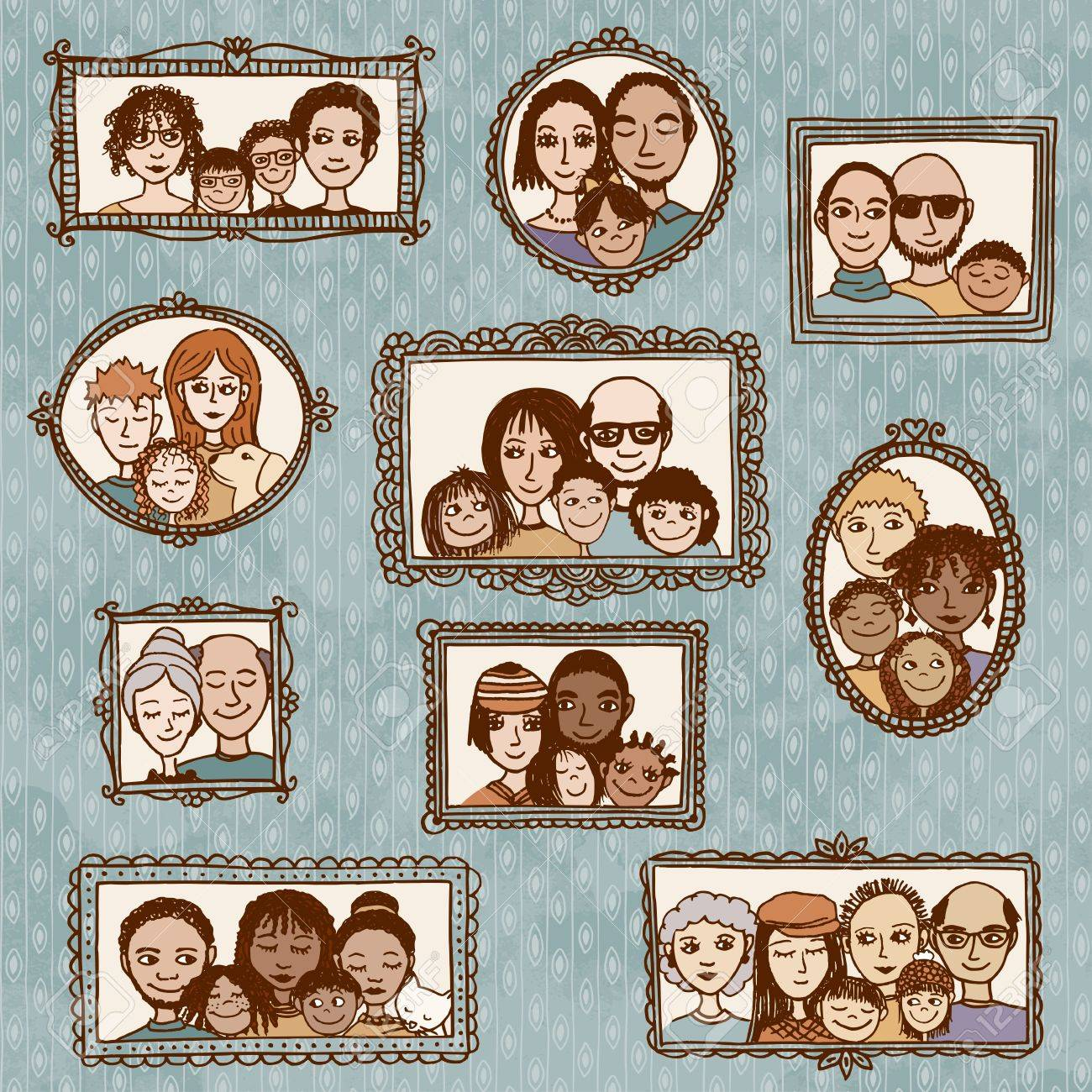 Cute hand drawn picture frames with family portraits - 52586055