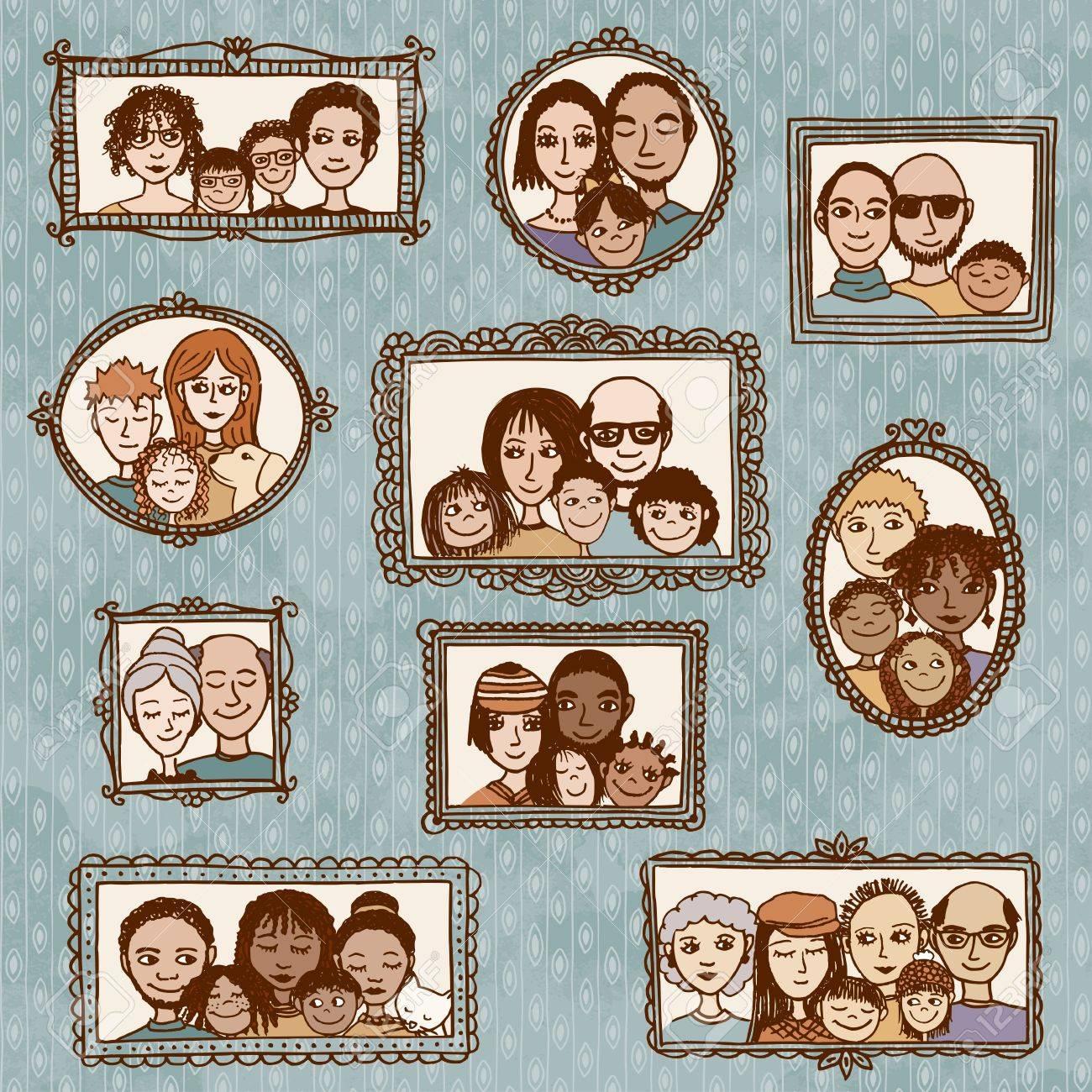 Nette Hand Gezeichnete Bilderrahmen Mit Familienporträts Lizenzfrei ...