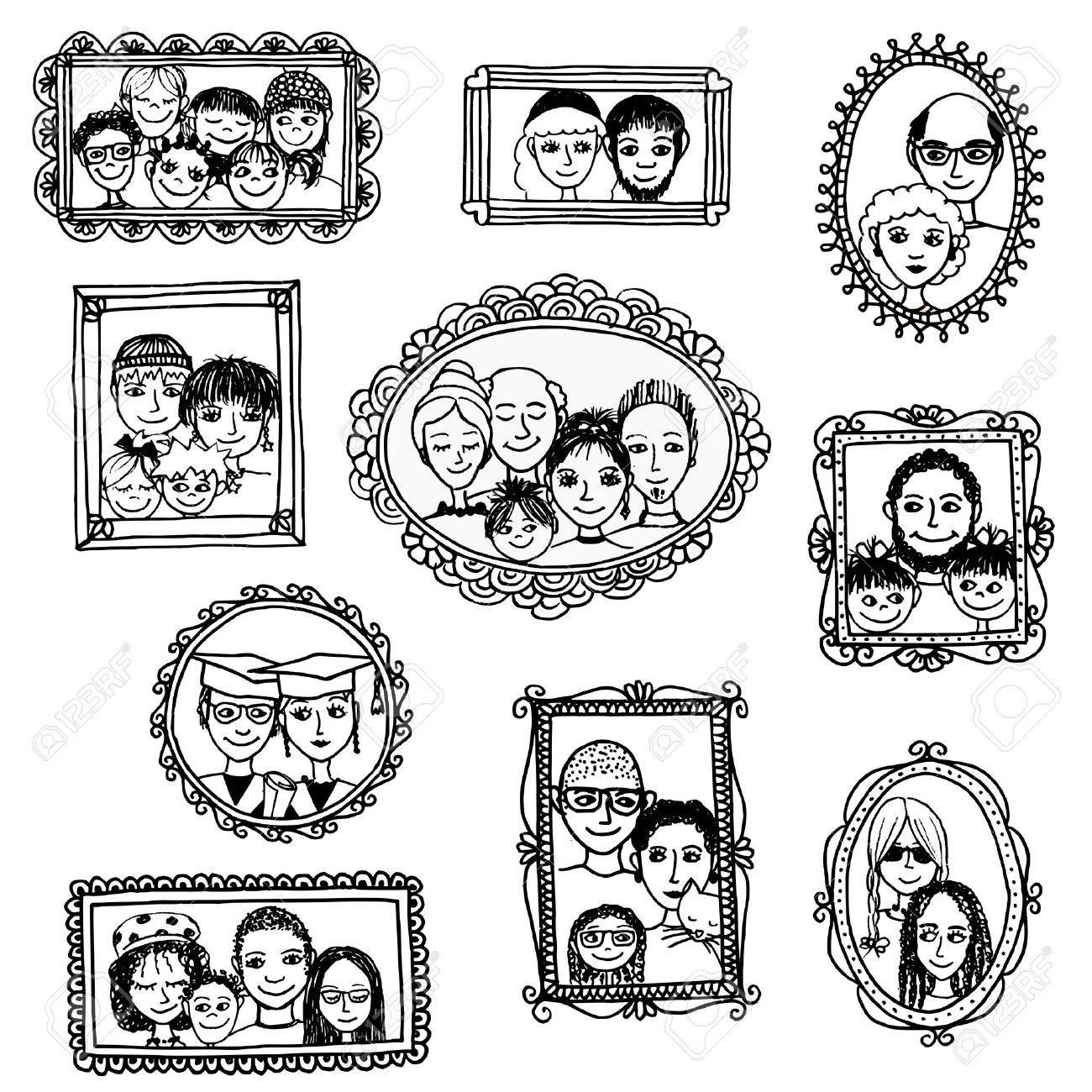 Cute Hand Drawn Picture Frames With Family Portraits Royalty Free ...