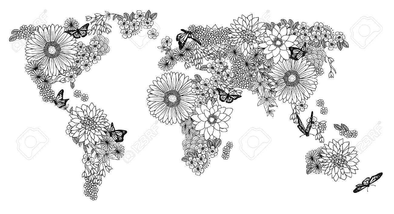 World Map Made Of Flowers Royalty Free Cliparts, Vectors, And
