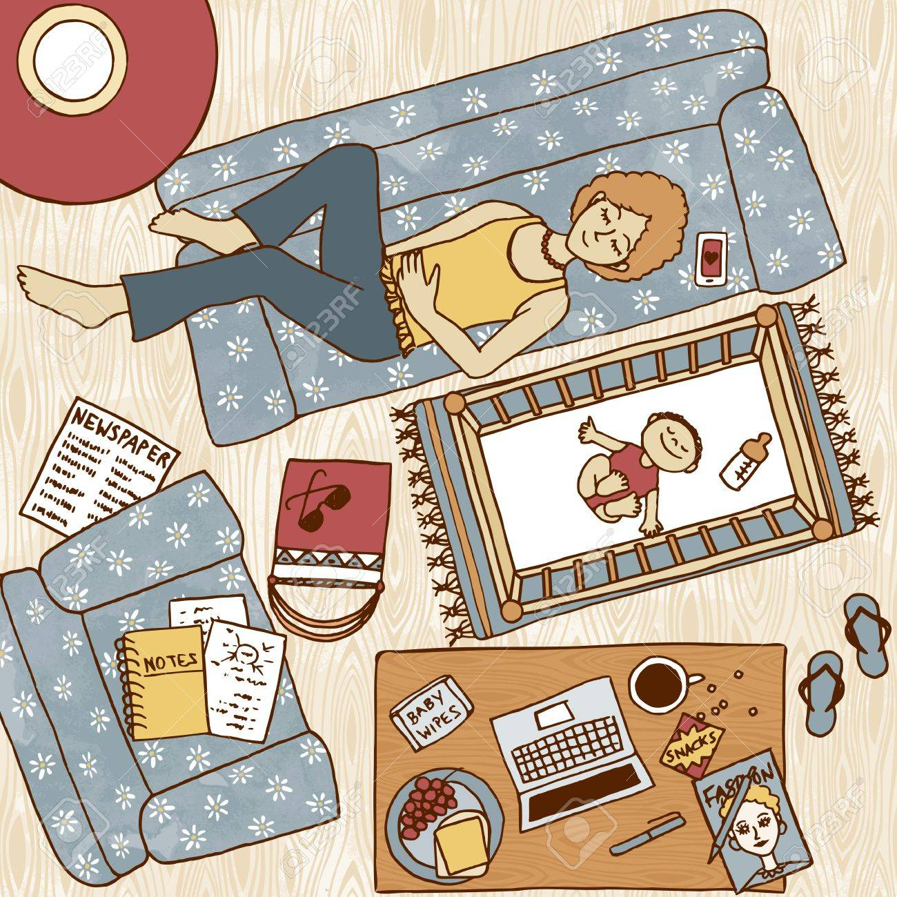 Baby bed next to mom - Top View Illustration Of A Mom Taking A Nap On The Couch With Her Baby Sleeping