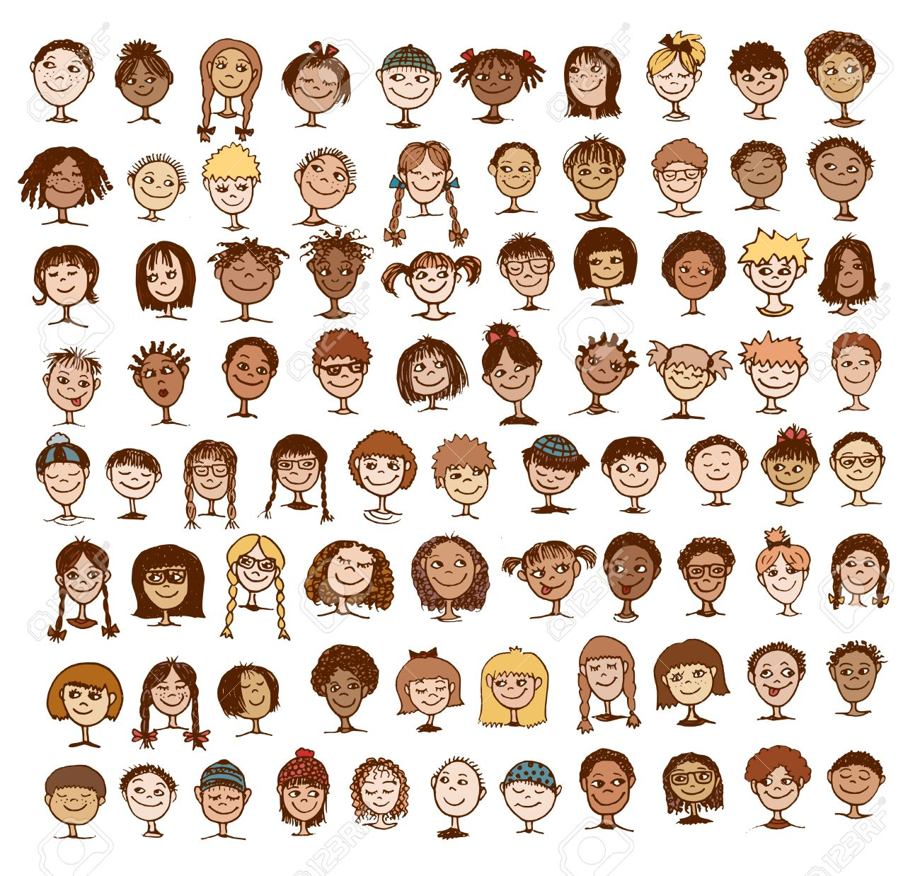 Collection of colorful hand drawn kids' faces - 55792072