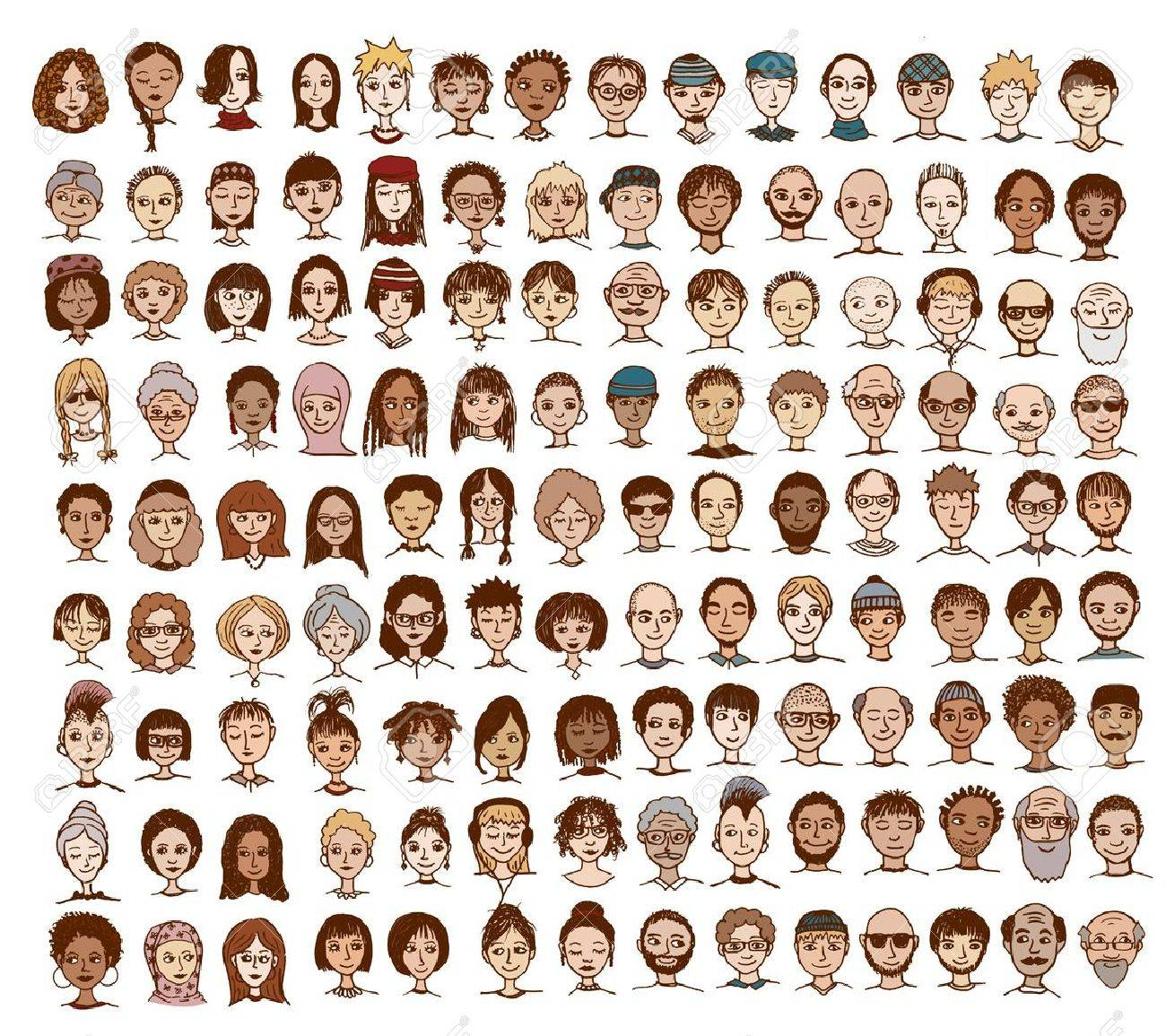 Collection of cute and diverse hand drawn faces - 55792075