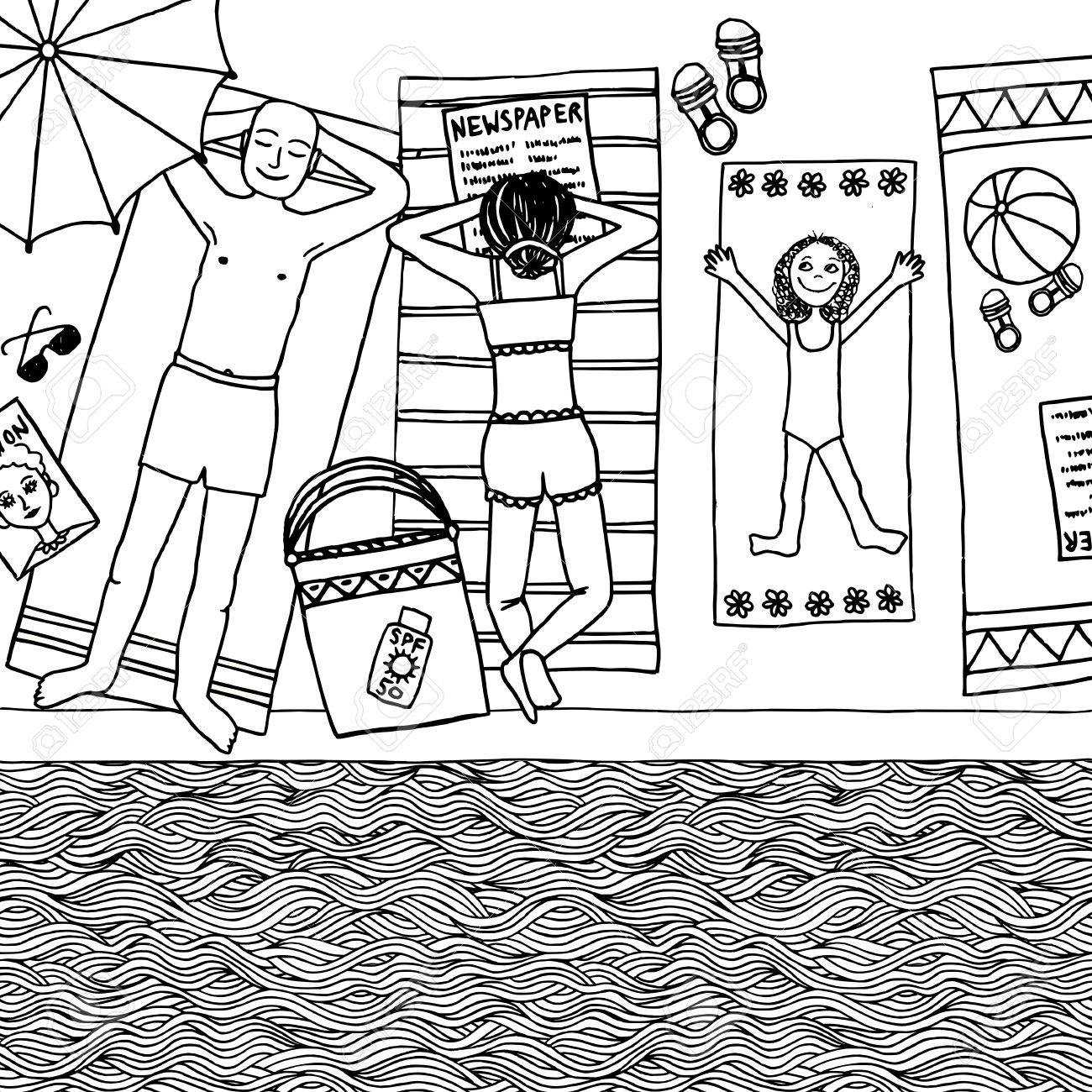 Hand Drawn Illustration Of A Family With Daughter Lying At The Swimming Pool Top View