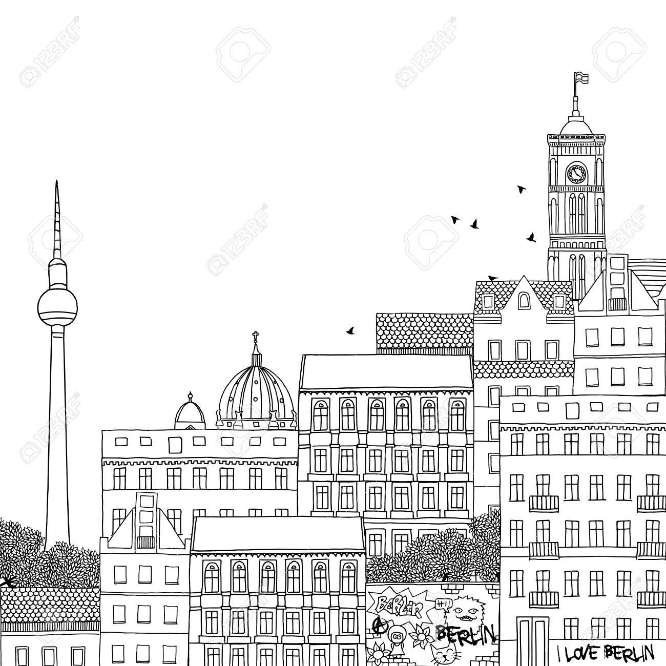 Hand Gezeichnet Schwarz Weiß Abbildung Von Berlin Lizenzfrei