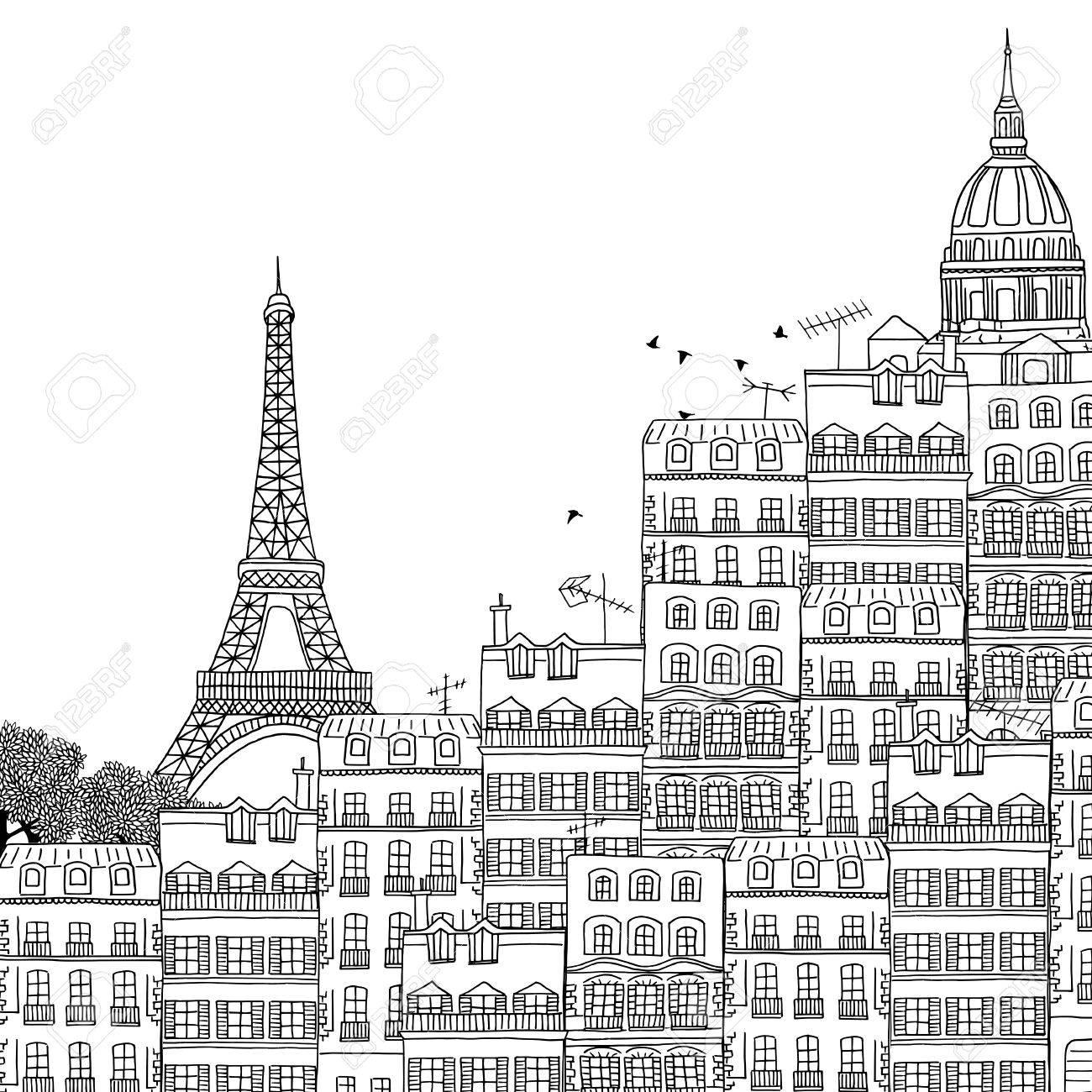 Hand drawn black and white illustration of Paris - 55801427