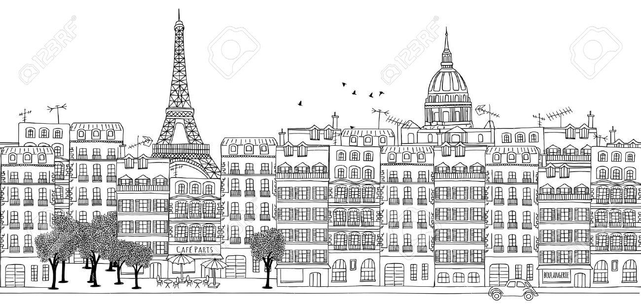Nahtlose Banner Der Skyline Von Paris Gezeichnet Hand Schwarz Weiß