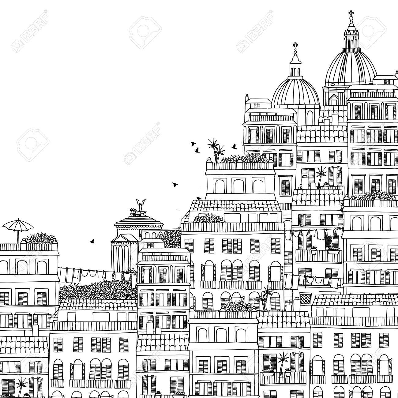 Hand drawn black and white illustration of Rome - 55801434