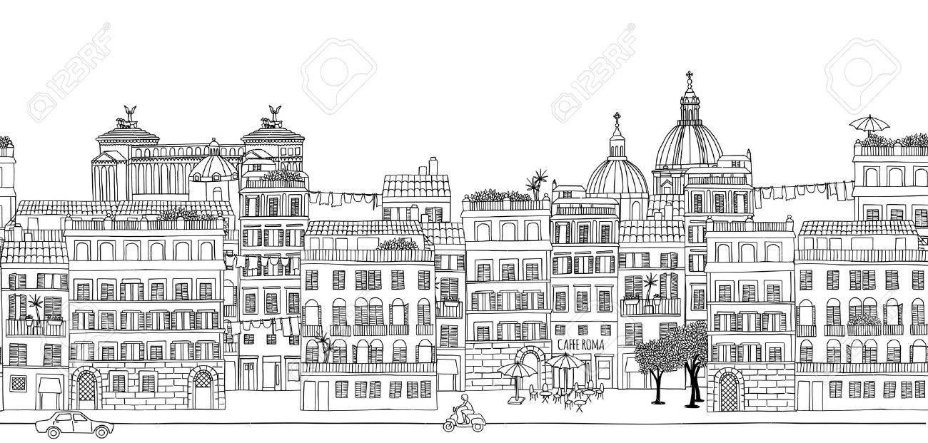 ローマの街並み黒と白のイラストを手描きのシームレスなバナーの