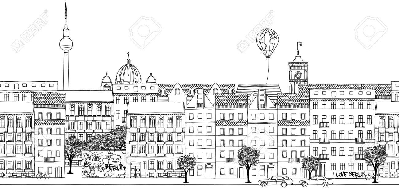 Seamless banner of Berlin's skyline, hand drawn black and white illustration - 55798423